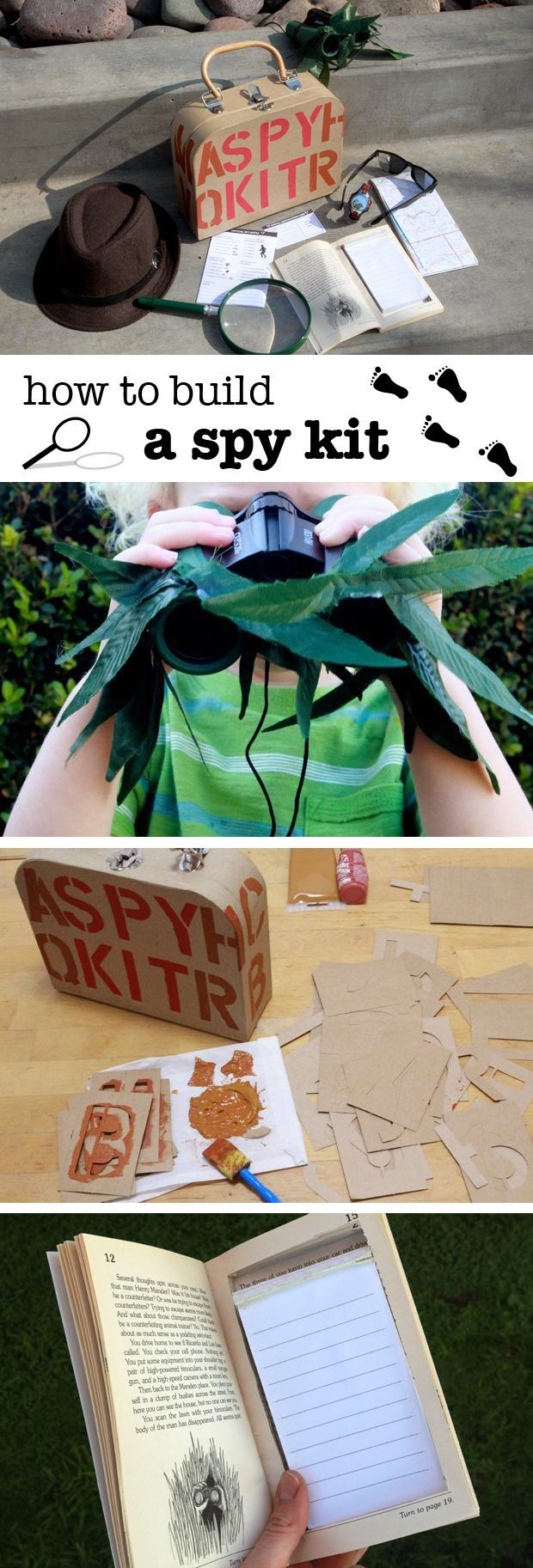 A spy kit is a great way to get your kids imagination flowing! Creating one is easy and fun for the kids, and can be super inexpensive. Each item in this spy kit is simple to make, but will bring hours of imaginative fun for all! http://www.ehow.com/how_6682755_build-own-spy-kit.html?utm_source=pinterest.com&utm_medium=referral&utm_content=inline&utm_campaign=fanpage