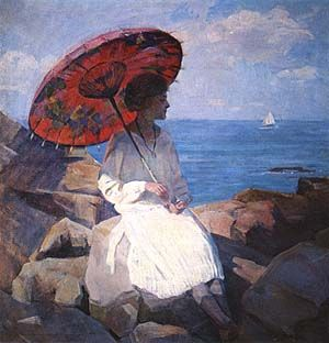 Marguerite Stuber Pearson, The Red Parasol, 1920Pearson 18981978, Umbrellas Parasol, Pearson 1898 1978, Parasol 1920, Marguerite Stuber Pearson, Art Umbrellas, American Artists, Painting, Red Parasol