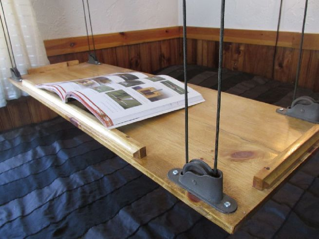 Amazing Hanging Bed Table Can Nimbly Move Up Via Its