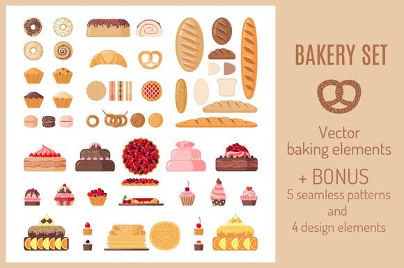 Set of Flat Bakery Icons by romawka on @creativemarket