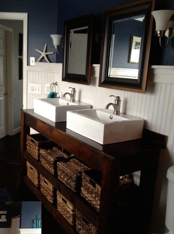 Diy farmhouse vanity bathroom tutorials pinterest for Diy wood vanity