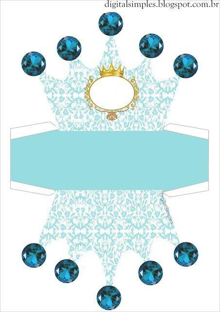 Corona Dorada en Fondo Celeste: Caja con Forma de Corona para Imprimir Gratis.