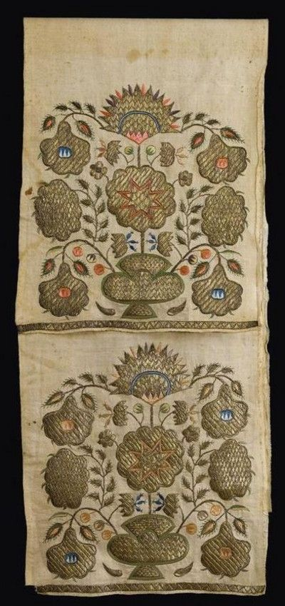 An 'uçkur' (sash / waist band) with embroidered tips. Generally worn by women. Embroderies in silver thread and silk, 18th century.