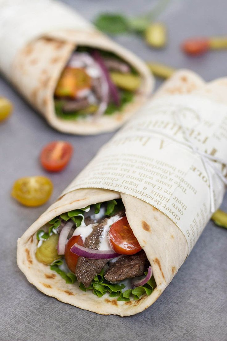 This Lebanese Beef Shawarma has everything you need: the tender meat, veggies, and the amazing tahini sauce. All this goodness wrapped in a pita bread. Perfection!