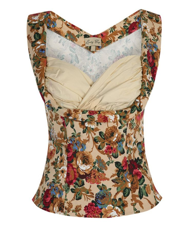 Another great find on #zulily! Lindy Bop Beige Floral Dorelia Top by Lindy Bop #zulilyfinds