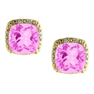 Cushion Cut Pink Sapphire June Gemstone Yellow Gold Diamond Earrings Available Exclusively at Gemologica.com