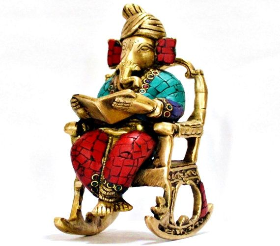 3D Moving Ganesh Statue Reading OM - Swastic Ramayan, Metal bronze Hindu God Statue, Garden Indoor Outdoor Decor Home & Living ,Collectables