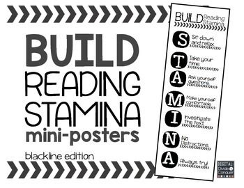 Build Reading STAMINA Mini-Posters (black, white, and gray shading only)Building reading stamina is pretty important for students (and teachers). Using the acronym for STAMINA to reinforce strategies with your class that will help them become successful readers.Each poster is approximately half of an 11 x 8.5 standard sheet of paper in landscape form.