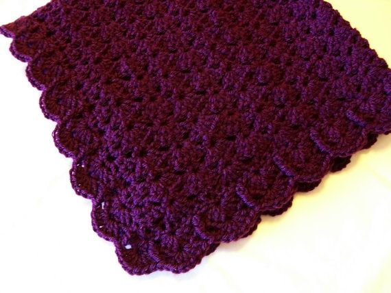 Purple Baby Blanket Afghan Amethyst Crochet Crib Stroller Car