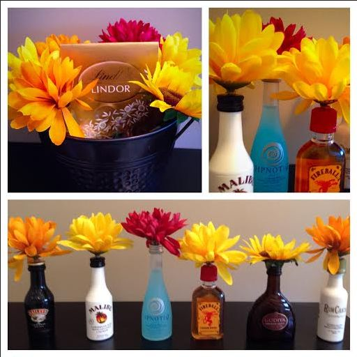 """Secret"" alcohol bouquet.. Great 21st birthday gift! Hot glue fake flowers to the tops of mini assorted alcohol bottles"