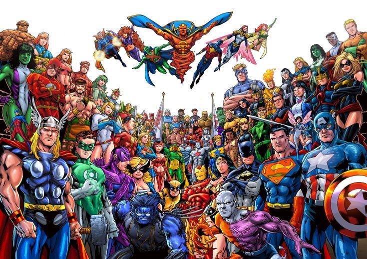 JLA/Avengers Ed Benes DPS Homage by Ian Richardson and Jang, in JLAAvengerCollector's JLA/Avengers Commission art, the horizontal art. Comic Art Gallery Room