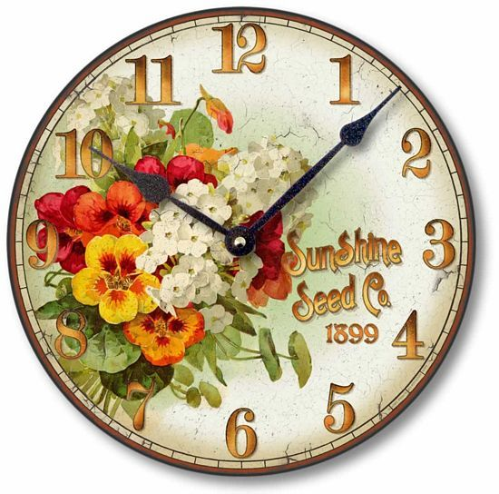 Item C8358 Vintage Style 12 Inch Floral Clock