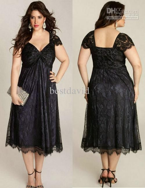 Wholesale Black Plus Size Lace Mother of the Bride Dress 2013 Cap Sleeve Sweetheart Ruched Empire Tea Length, Free shipping, $112.0-137.76/Piece | DHgate