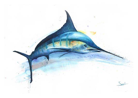 BLUE MARLIN PRINT blue marlin watercolor fish watercolor