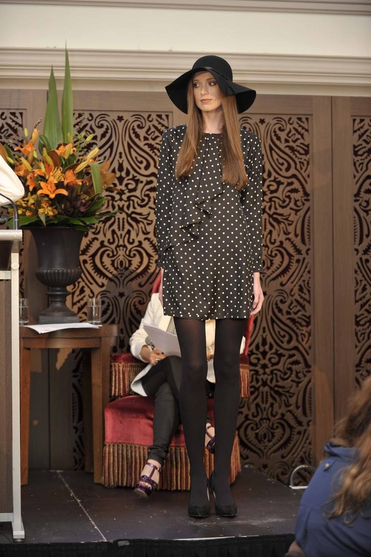 Trend: Black and White  Model wears #Herringbone Helen dress, Country Road tights, #seed femme wool hat and Karen Millen #suede heels.   #qvb #countryroad #karenmillen #polkadots #spots #monochrome #hats