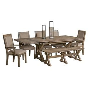foundry eight piece rustic dining set with bench by kincaid furniture