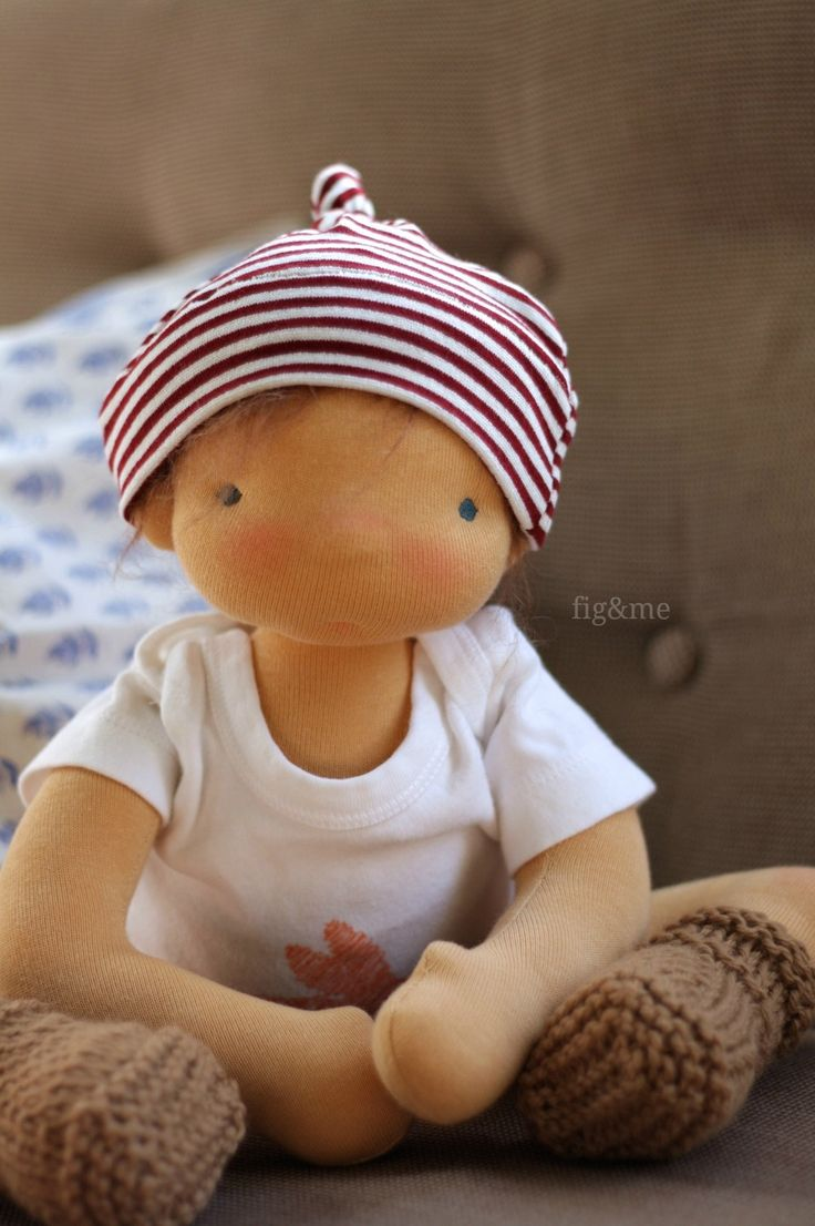 """Little Boy Blue, a 14"""" baby-style doll by Fig and Me."""