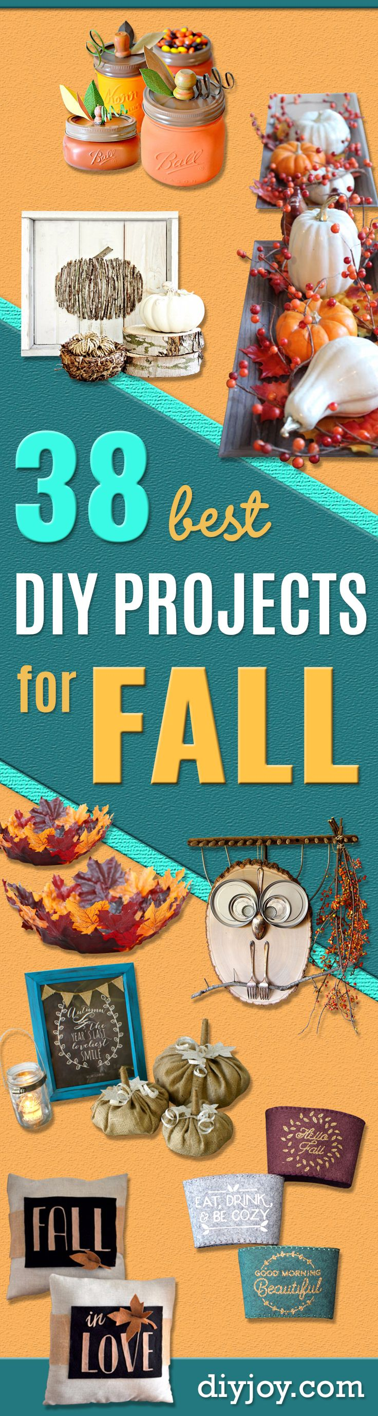 38 Best DIY Projects for Fall - Quick And Easy Projects For Fall, Fun DIY Projects To Try This Fall, Cute Fall Craft Ideas, Fall Decors, Easy DIY Crafts For Fall http://diyjoy.com/diy-projects-for-fall