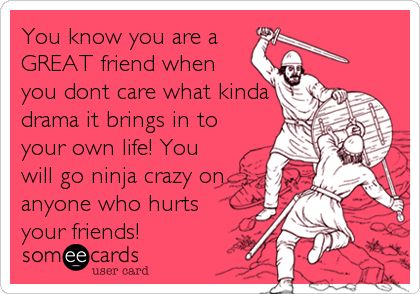 You know you are a GREAT friend when you don't care what kinda drama it brings in to your own life! You will go ninja crazy on anyone.