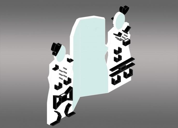 Specchio - Beauty-case - appendiabiti, realizzato in legno con parti in specchio, ideato per 2 sorelle o semplicemente 2 coinquiline, per truccarsi con tutto il necessario a portata di mano, aggiungere il dettaglio finale, senza litigarsi lo specchio. I 4 elementi sono uniti tra loro con delle cerniere che permettono l'utilizzo degli specchi  in tutte le posizioni. I 2 elementi luminosi  sopra gli specchi più piccoli servono per migliorare la visibilità durante il trucco.