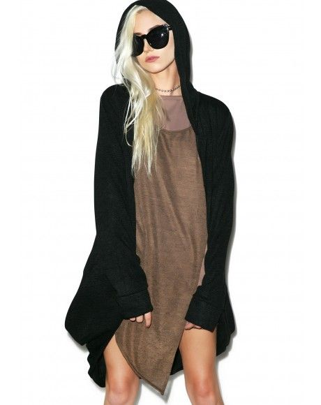 #DollsKill #lookbook #photoshoot #model #MNML #hawt #hooded #cardigan #black #sweater #hood #longsleeve