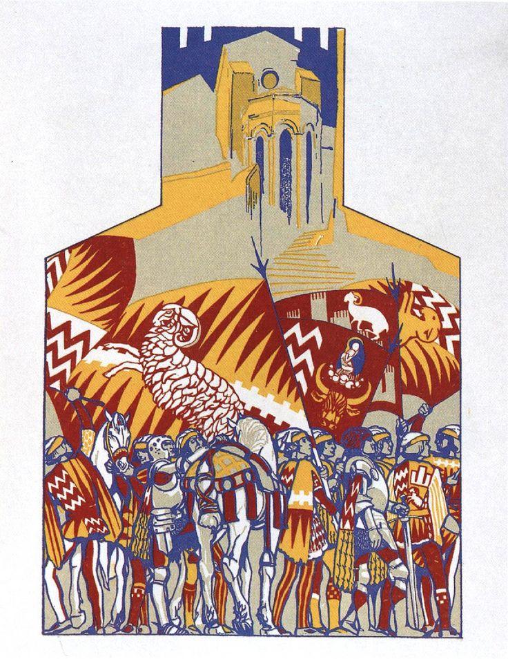 Duilio Cambellotti: Comparsa della Contrada di Valdimontone (1932). Su http://www.flickr.com/photos/iltesorodisiena/8288612983