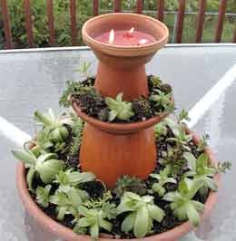 Clay Pot Centrepiece - Terracotta Flower Pots and Saucers Upcycle