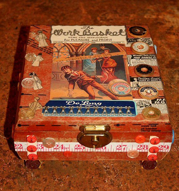 Vintage Sewing Theme Altered Keepsake Box by Oblations on Etsy, $45.25