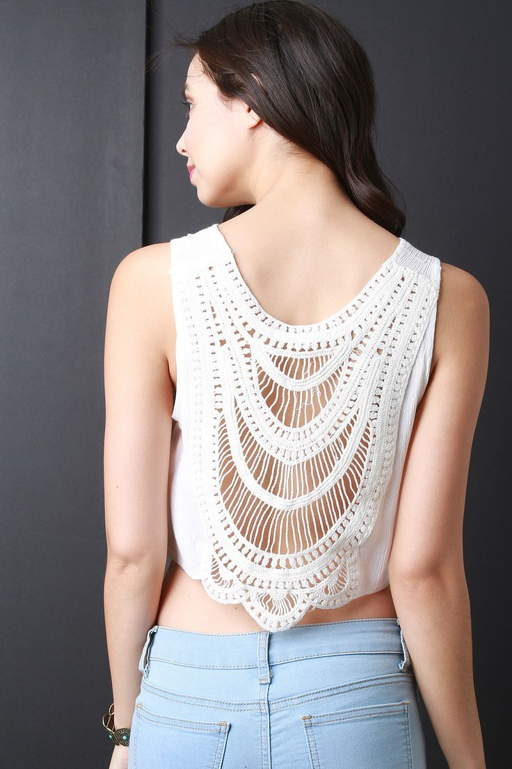This sleeveless top features a round neckline, crop hemline, and a semi-sheer crochet lace back. Accessories sold separately. 100% Rayon. Measurement Size Bust Hem Length S 15.5 15 18 M 16.5 16 19 L 1