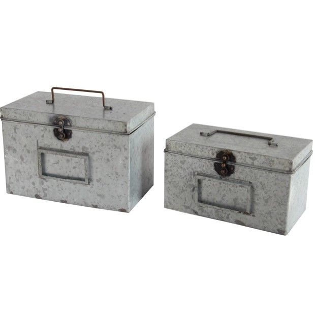 Short Metal Boxes with Lids, Set of 2
