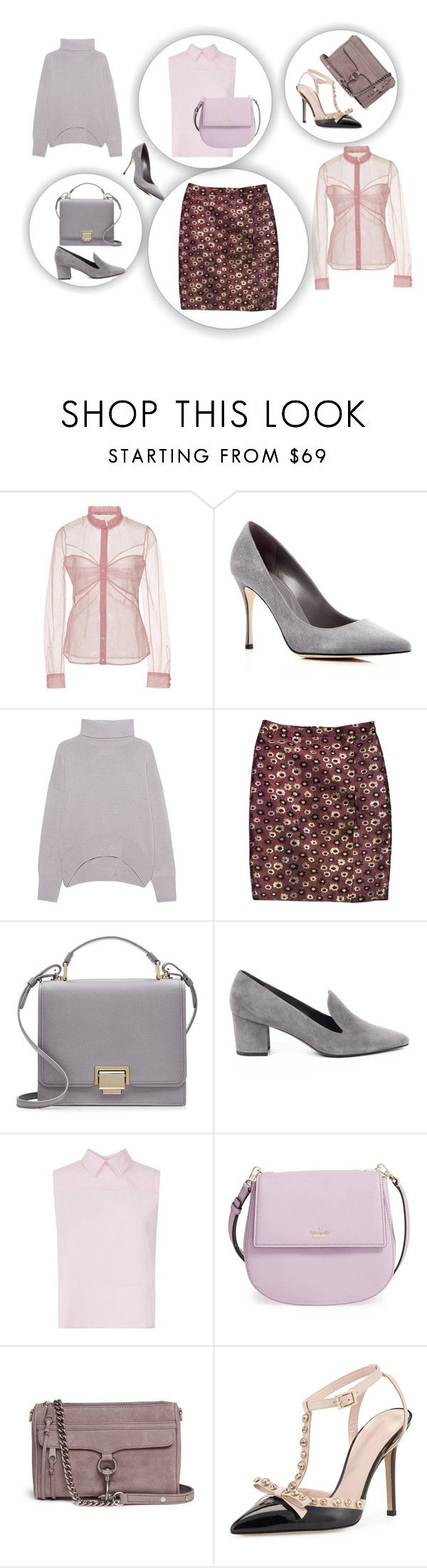 """Wardrobe capsule: Mauve, ice pink, smoke, lavender"" by bijouxinedit on Polyvore featuring Mary Katrantzou, Sergio Rossi, J.Crew, Smythson, Stuart Weitzman, Victoria, Victoria Beckham, Kate Spade and Rebecca Minkoff"