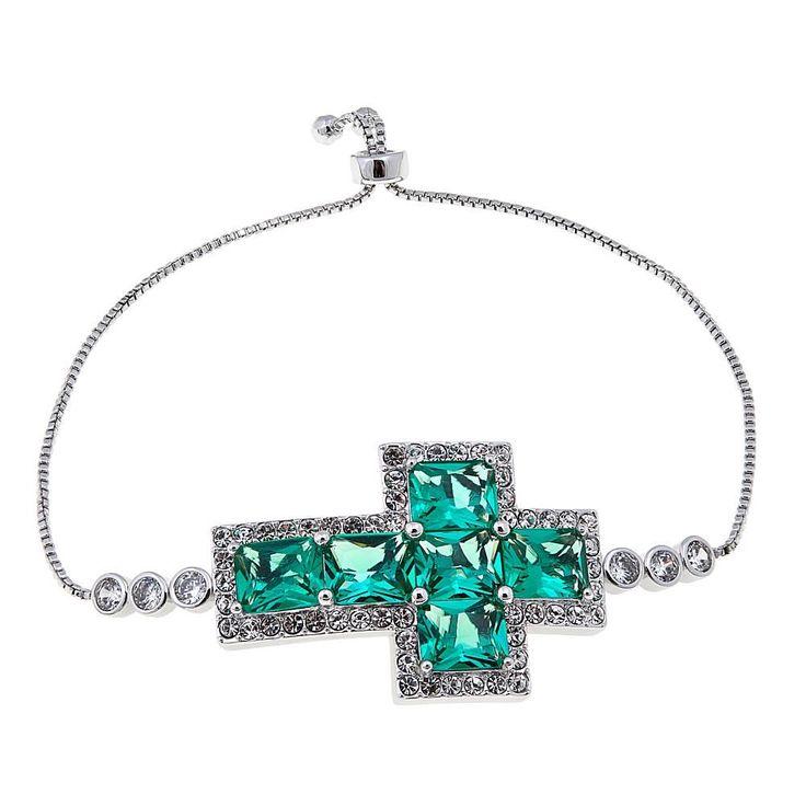 Joan Boyce Green Faceted Stone Sideways Cross Adjustable Bracelet
