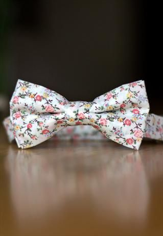 ASOS MENS VINTAGE FLORAL PINKS BOW TIE SUMMER WEDDING