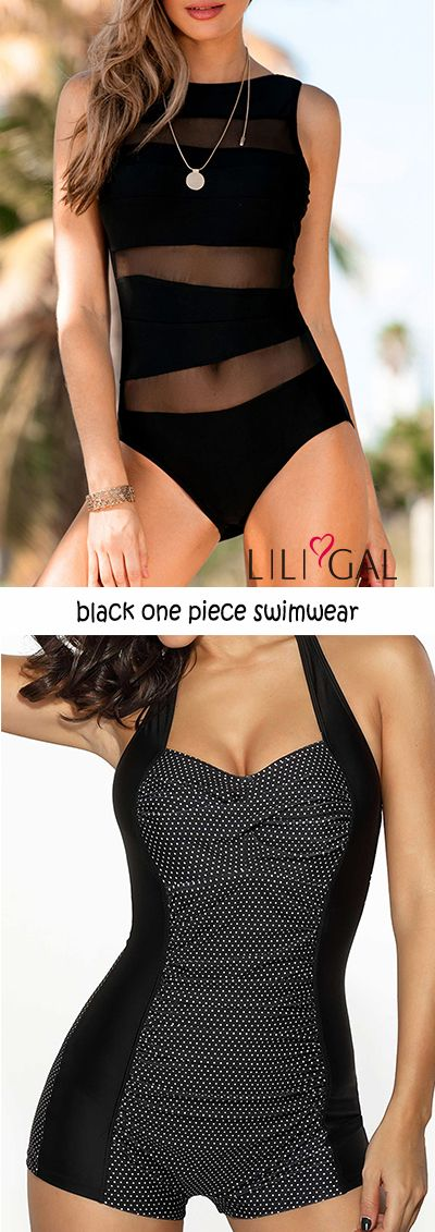 black one piece swimwear, features mesh panel, polka dot print. #liligal #swimwe…