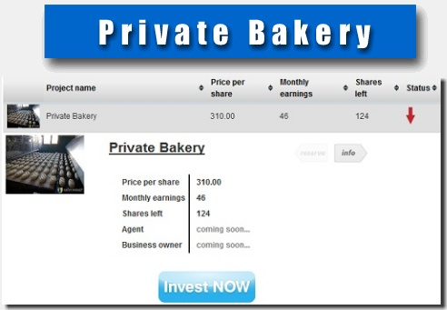 New project PRIVATE BAKERY , Share price 297$ Monthly profit: 46$