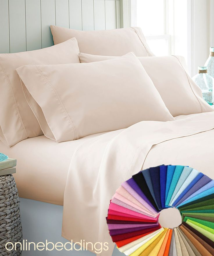 Super Soft 4 Piece Bed Sheet Set 1000TC 100% Egyptian Cotton All Sizes-25 Colors