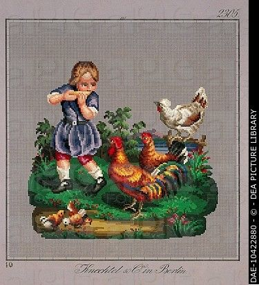 Embroidery, Germany 19th century. Llittle boy with a rooster