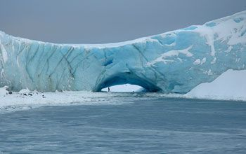 A natural arch in a glacier at Norsel Point, Anvers Island, Antarctica.