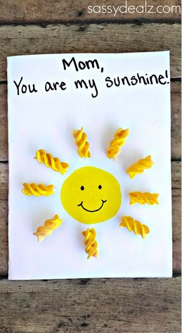 """You Are My Sunshine"" Noodle Card for Kids to Make #Mothers Day Card Idea"