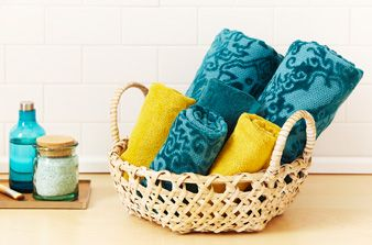 Save our 4 towel folding techniques: basket storage, deep fold, narrow fold and fan fold.