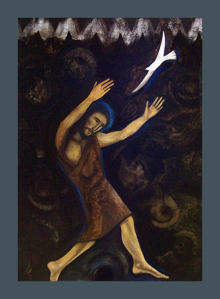 """Michael O'Brien > The jaws of death encompass John the Baptist in Herod's prison. He is soon to die, his only """"crime"""" is in speaking the truth, proclaiming God's word. He reaches up to the light of the Holy Spirit, symbolized by the white bird. This light cannot be locked out of the darkest cell, if we reach up and ask him to come.</p>"""