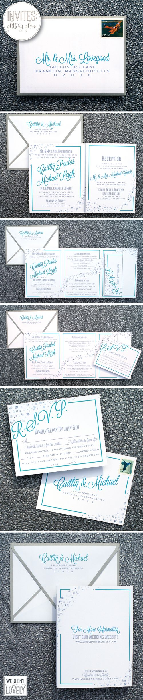 glittery glam custom designed wedding invitations, glittery silver dots, teal and silver wedding invites, wedding invitation suite, fold out wedding invites, Wouldn't it be Lovely