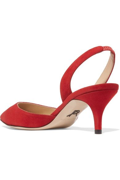Paul Andrew - Rhea Suede Slingback Pumps - Red