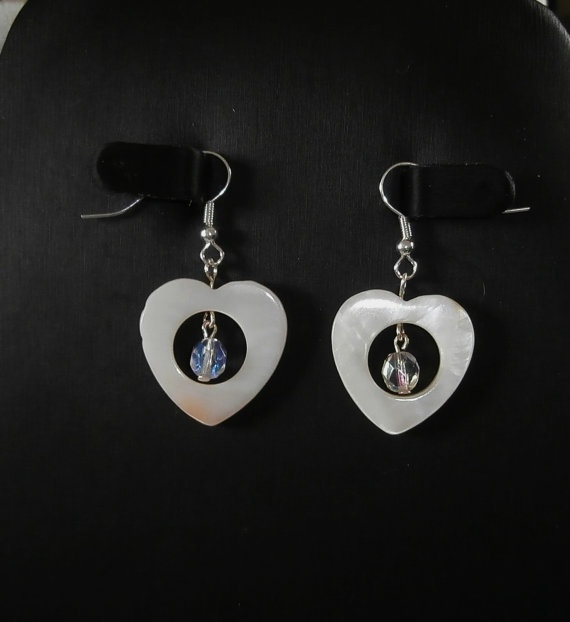Heart Shaped Shell Earrings by WearMyJewellery on Etsy, £4.50