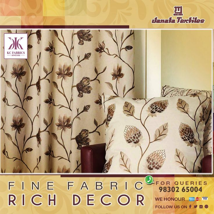 Give your home an imperial and splendour look with our latest curtain designs. Now K C fabric products are available at #JanataTextiles #Curtains #Design #UniqueCollection #HomeDecor
