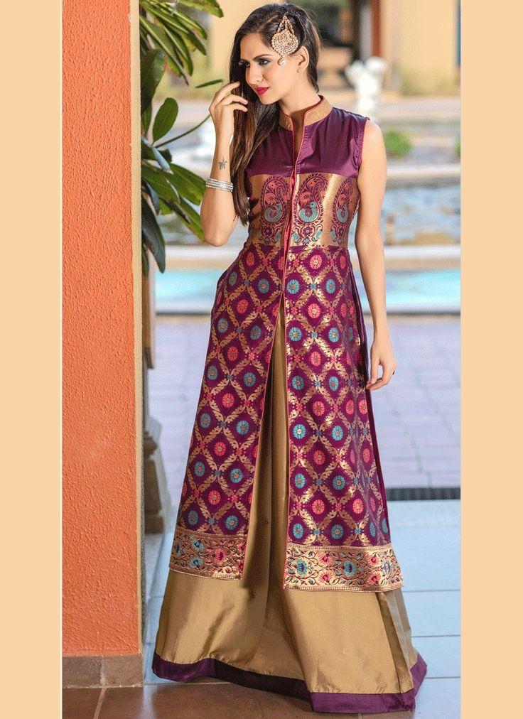 Best range of latest indian designer lehenga choli collection for wedding and parties. Grab the tafeta silk magenta lehenga choli.
