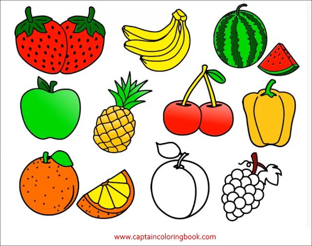 Coloring Pages Of Fruit Fruit Coloring Pages Apple Coloring Pages Art Drawings For Kids
