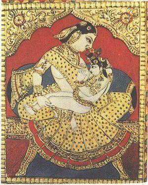 Yashoda breastfeeding Krishna, yep, it's been around that long....