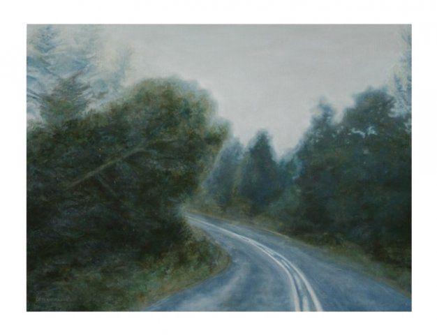 Rain in Rheenendal, oil paint on woodpanel 300x400mm by DP Ferreira