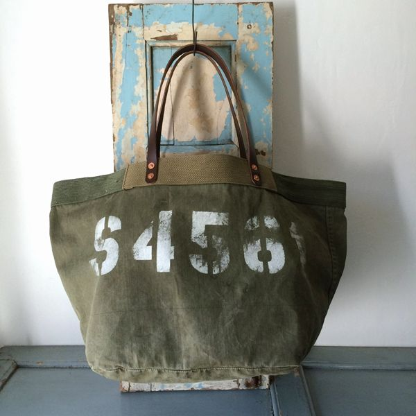 50's US ARMY vintage canvas remake tote bag IND_BNP_00106_US ARMY W59cm H33cm D33cm Handle50cm
